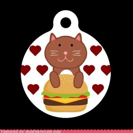 accessory cat cheeseburger ichc pet pets safety tag - 4176901376