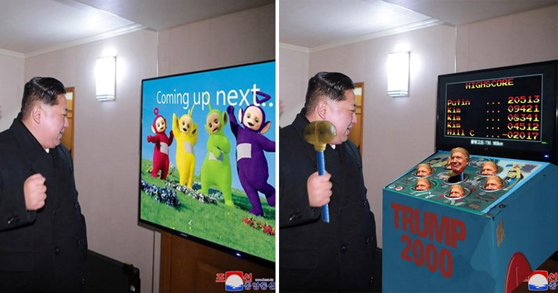 Funny photoshop memes of KiM Jong-Un of North Korea, Donald Trump, video games.