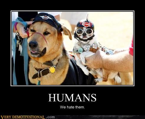 anthropomorphizing,costume,dogs,harley davidson,misanthropy,sad but true