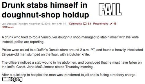 donuts drunk failboat Probably bad News robbery stabbing yikes - 4178639104