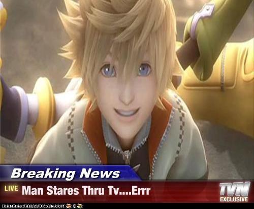 Breaking News - Man Stares Thru Tv    Errr - Cheezburger