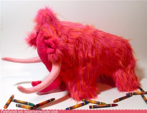 cuddly,furry,handmade,mammoth,pink,Plush