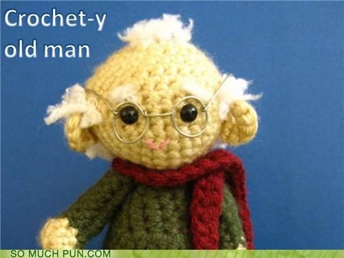 crochet crotchety good old days homophone nostalgia old man reminiscing spinning story tale yarn yearning