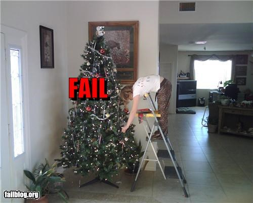 bad idea,decoration,failboat,g rated,holiday,ladders,really,tree