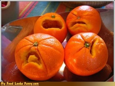carved cry faces fruits-veggies oranges Sad whine