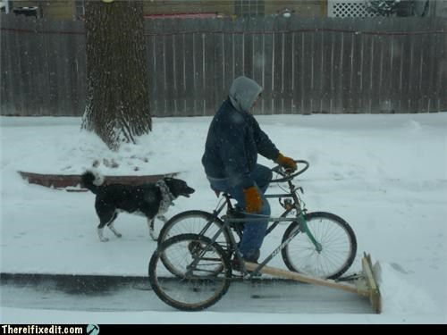 bike snow snowplow winter - 4181898240