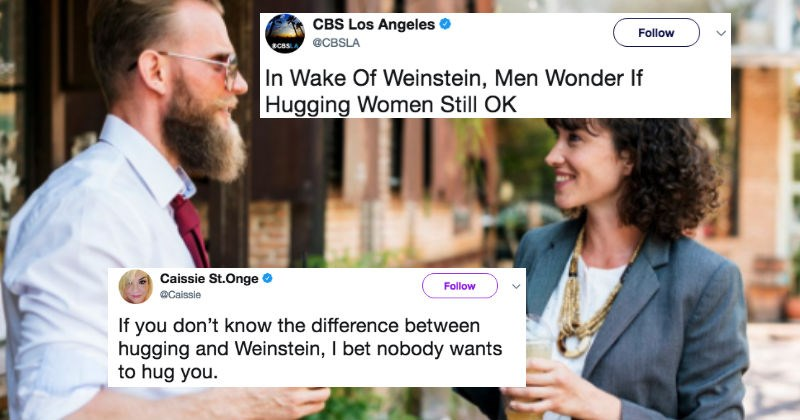 Insensitive headline about men hugging women gets a solid Twitter roasting.