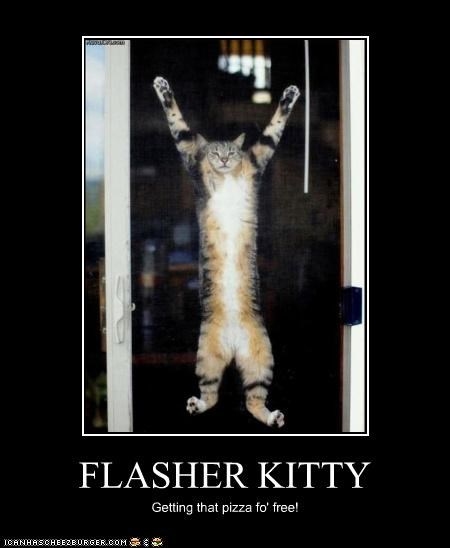 FLASHER KITTY Getting that pizza fo' free!