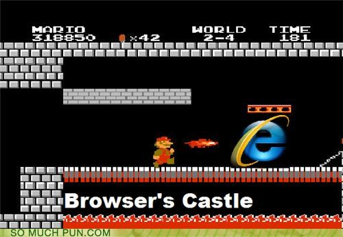bowser,bowsers-castle,browser,chrome browsers,fire flower,firefox,mario,metal cap,rhyming,Super Mario bros,upgrades