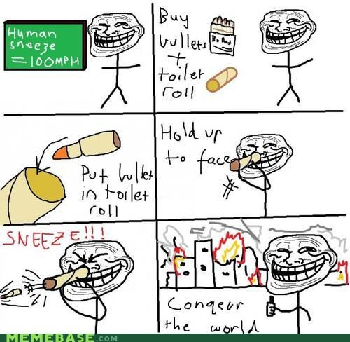 face gun Memes nose sneeze troll science - 4184672512
