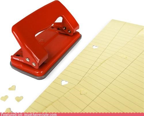 desk heart hole punch job Office paper punch stationary work - 4186497792