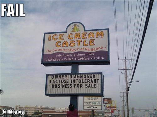 business failboat ice cream irony lactose intolerant sign yikes - 4187567872