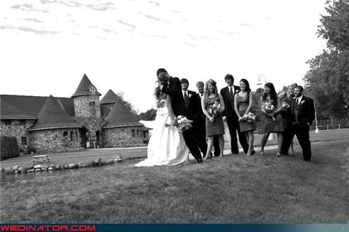 black-white,bride,crazy groom,funny wedding party picture,funny wedding photos,groom hugging wife,scary groom,stark wedding picture,were-in-love,wedding party,wtf