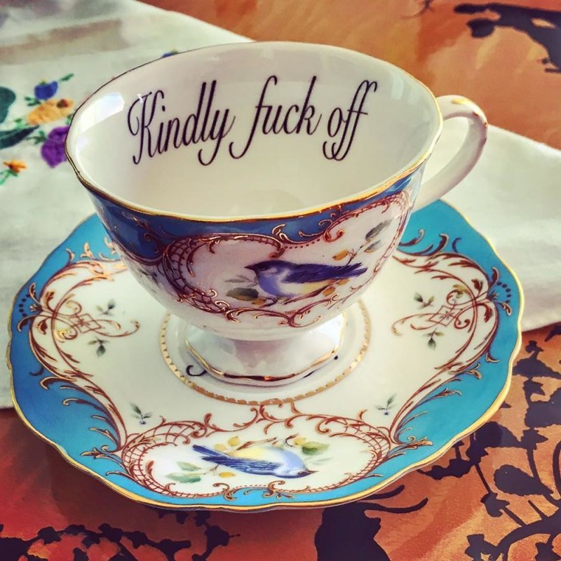 cool elegant and interesting designs of china tea cups and matching saucers | very fancy tea cup with intricate drawing of a bird and the phrase kindly fuck off written on the brim inside