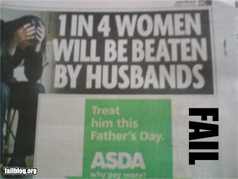 ads,bad idea,failboat,fathers day,newspaper,placement,poor planning