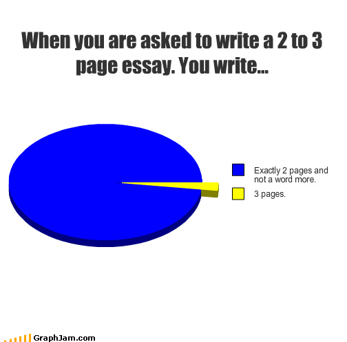 When you are asked to write a 2 to 3 page essay. You write...