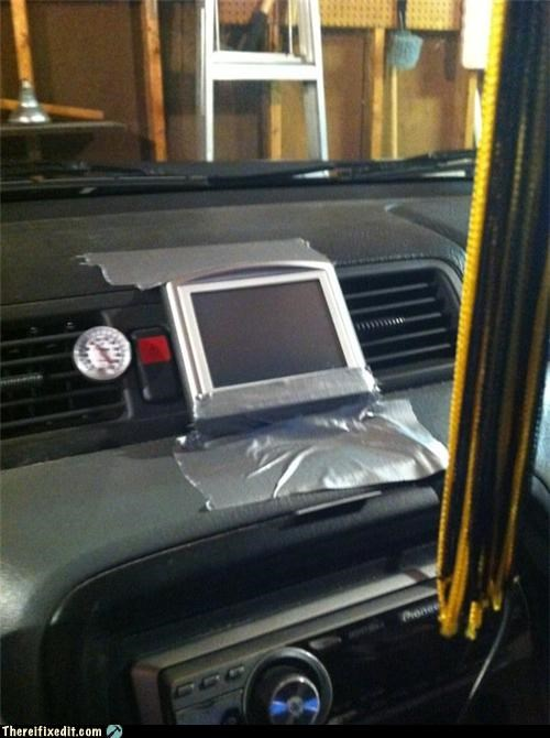 dashboard,duct tape,gps