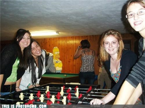 cardboard cut out,cartoons,foosball,girls,homer,noobs,photobomb,spinners