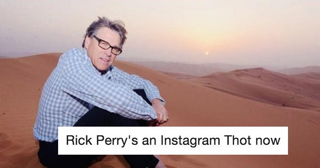 Funny memes of Rick Perry in Saudi arabia, desert photographs, bare feet, star wars, lord of the rings.