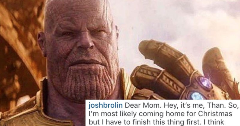 Josh Brolin shares a funny Instagram post about Thanos writing an imaginary letter to his mom that triggers Ryan Reynolds.