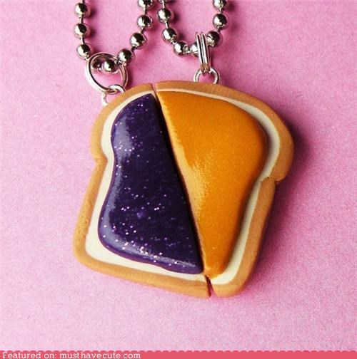 best friends,bff,bread,chain,couple,jelly,necklace,peanut butter,pendant,set