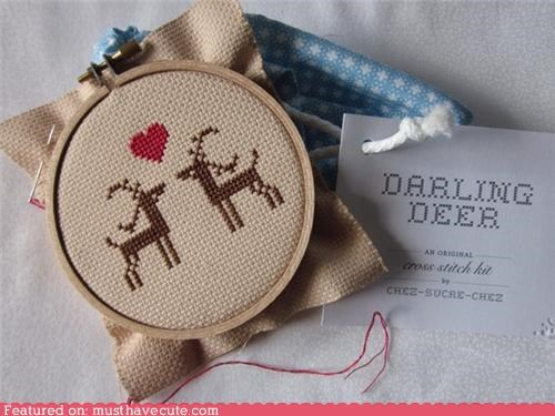 art craft cross stitch deer hand made heart sweet - 4193614336