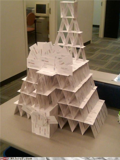 business cards cards stack tower - 4193709568