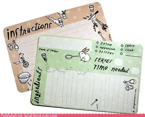 animals,bunny,cooking,recipe,Recipe cards,squirrel,stationary