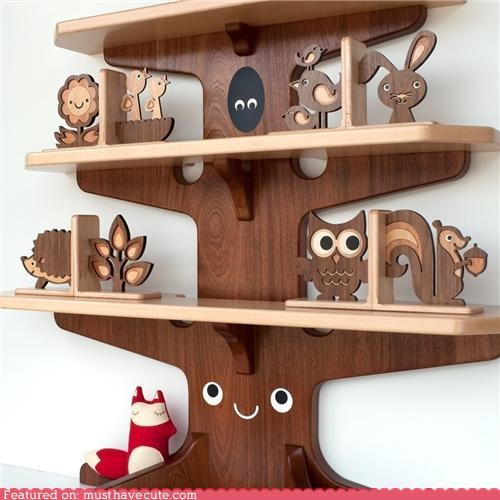 animals,cute,furniture,shelves,tree,whimsy,wood,woods