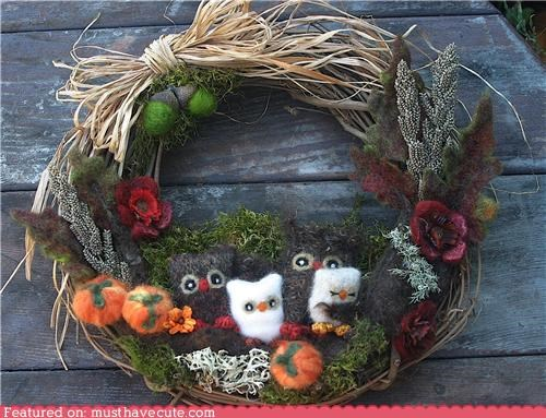 art,decor,decoration,felt,felted,holiday,owls,wreath