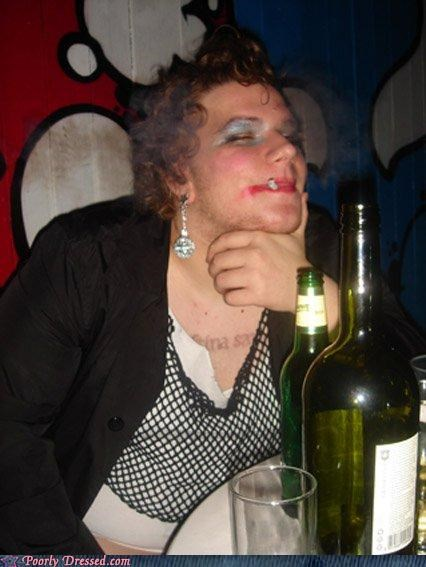 booze cigarette crossdressing hair dye