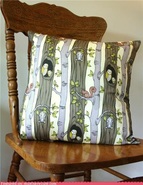 Woodland creature organic cushion cover