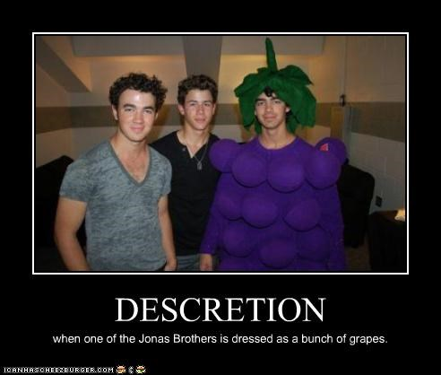 DESCRETION when one of the Jonas Brothers is dressed as a bunch of grapes.