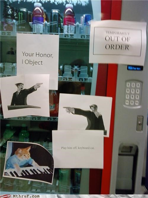 Keyboard Cat notes phoenix wright signs vending machine - 4195872768