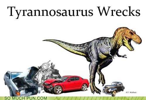 accidents,cold blooded,cops,criminal,homophone,rhyming,road rage,t rex,triceratops,tyrannosaurus rex,wreck,wrecks