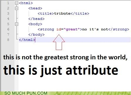 attribute,clever,coding,contraction,HTML,id,lyrics,song,strong,tenacious d,tribute