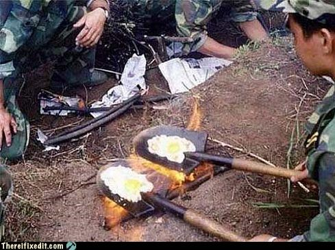 army,cooking,shovel,unsanitary,war