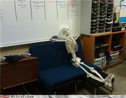 boring dead meeting skeleton sleeping on the job