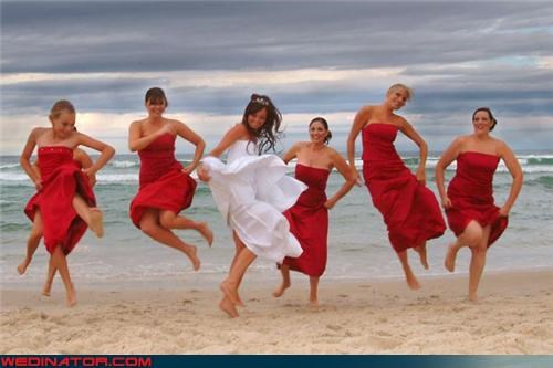 bride,Crazy Brides,dancing on sand,fashion is my passion,funny bridesmaids picture,funny wedding jumping picture,funny wedding photos,jumping bride picture,jumping bridesmaids,jumping for joy,technical difficulties,wedding party