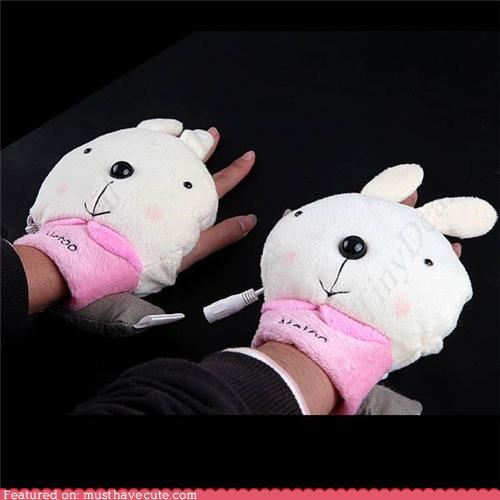 accessory bunnies clothing gadget gloves hand warmers USB - 4199096064