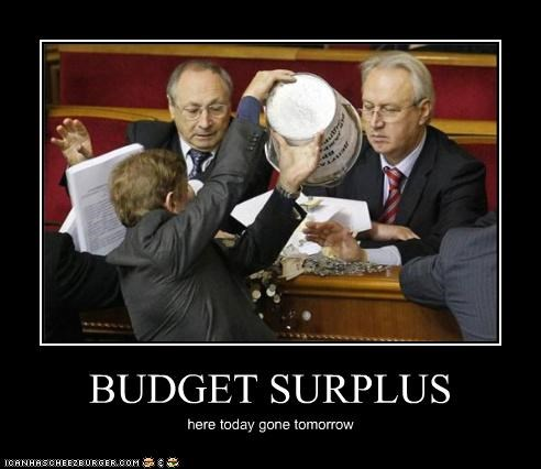 BUDGET SURPLUS here today gone tomorrow
