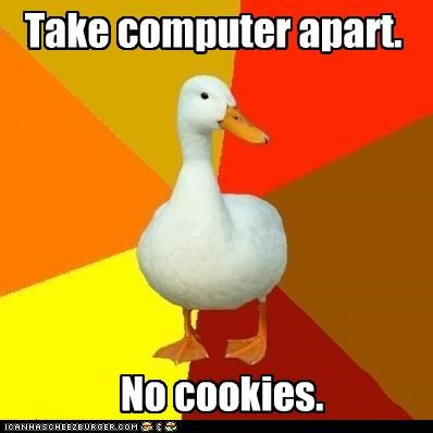Technologically-Impaired Duck: has munchies