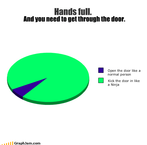 door,hands full,karate,kick,ninja,Pie Chart