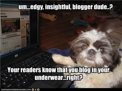 Your readers know that you blog in your underwear...right? um...edgy, insightful, blogger dude..?