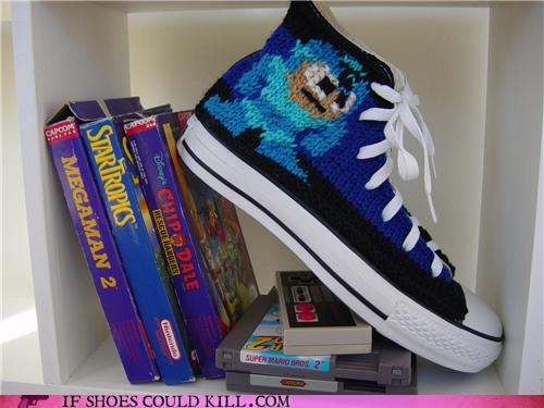 character,custom,geeky,hand made,Knitted,mega man,sneakers,video games