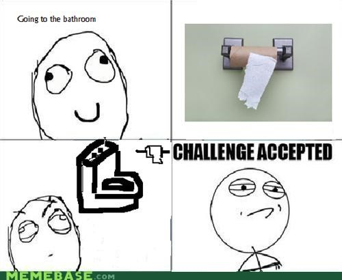 bathroom Challenge Accepted Memes one sheet roll toilet - 4205401856