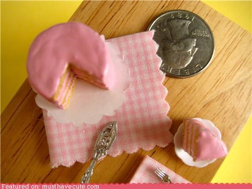 cake,hand made,miniature,pink,sweets,tiny