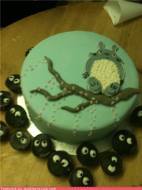 Terrific Totoro Birthday Cake With Soot Sprite Cupcakes Must Have Cool Funny Birthday Cards Online Aeocydamsfinfo