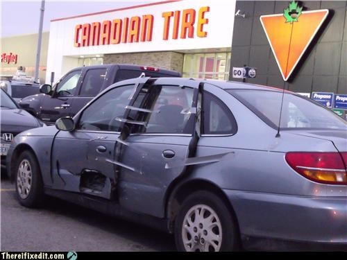 cars,destruction,duct tape,totaled