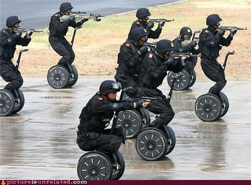 future cops guns JCVD lazy military police segway time cop wtf - 4211885568